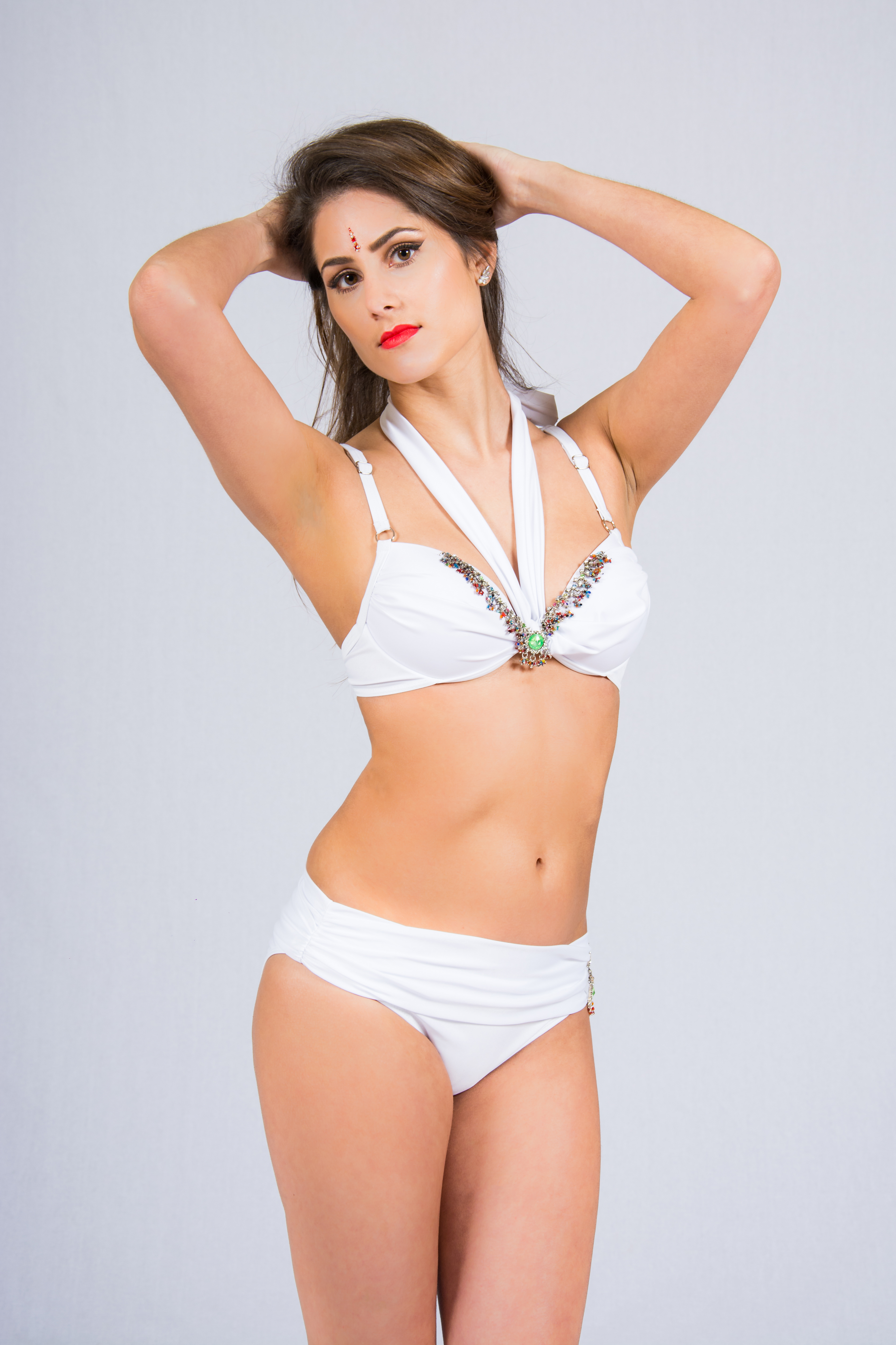 wide selection of colors utterly stylish purchase newest white padded bikini set with lime and gold embellishment