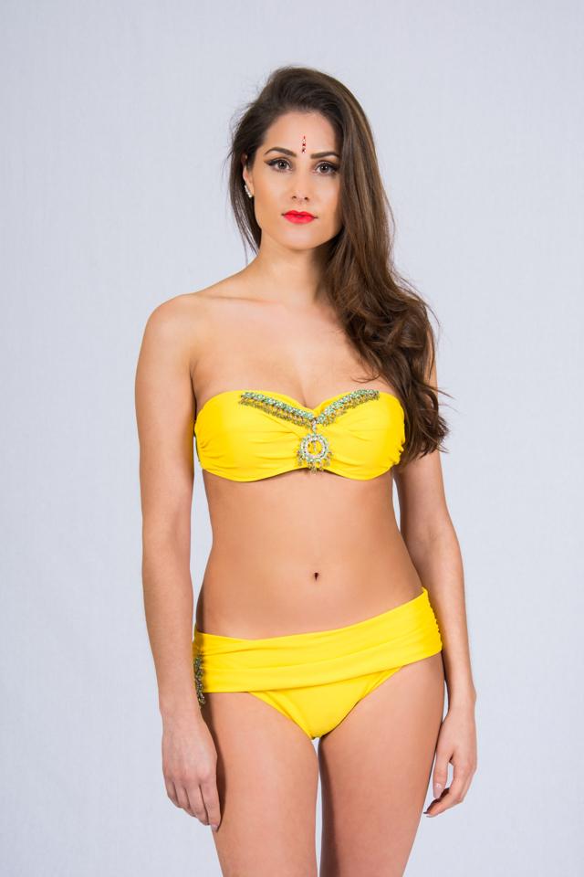 0c44e55da8 bright yellow bandeau bikini set with green embellishment – Mohani