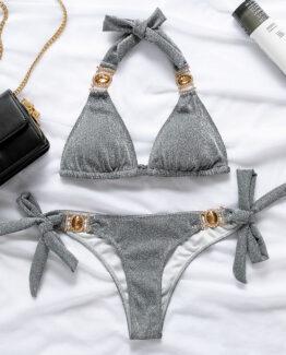 silver bikini with gold rhinestone straps