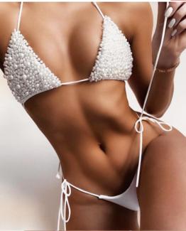 Mohani white pearl bikini set