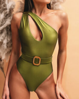 green shimmer swimsuit