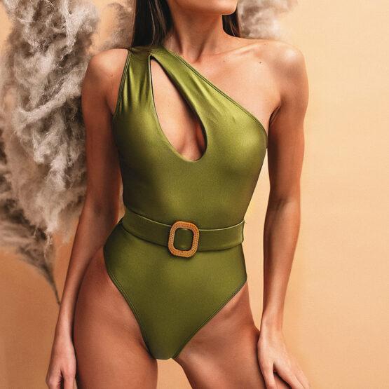green shimmer swimsuit